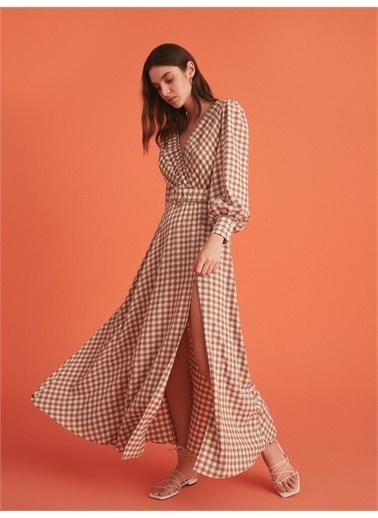 Nocturne Yırtmaçlı Ekose Elbise Renkli